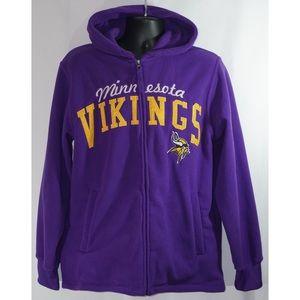 NFL Shirts - Minnesota Vikings Full Zip Fleece Hoodie Size M